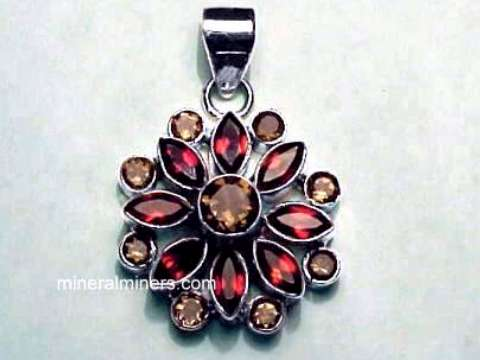 Garnet necklaces natural garnet necklaces large red garnet pendant with smoky quartz item aloadofball Images