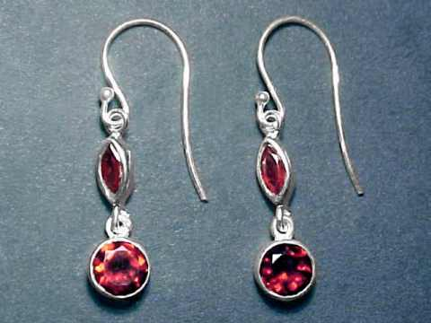 Silver Red Garnet Earrings Item