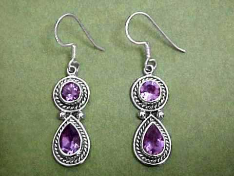Pair Of Sterling Silver Amethyst Earrings 1 2