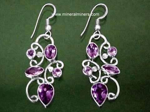 Large Sterling Silver Genuine Amethyst Earrings Item