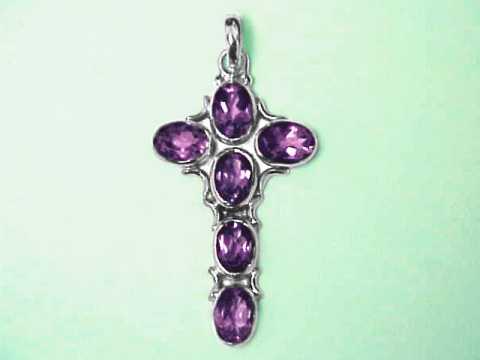 Gemstone cross pendants sterling silver cross jewelry with natural amethyst cross sterling pendant 1 2 aloadofball Gallery