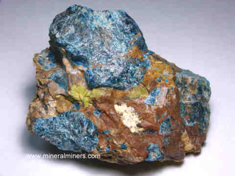 Apatite in Jasper Mineral Specimens: blue apatite in jasper matrix specimens