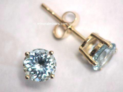 6mm Round Aquamarine 14k Gold Earrings Item Aquj423