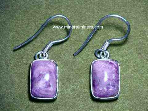 Natural Charoite Sterling Silver Earrings