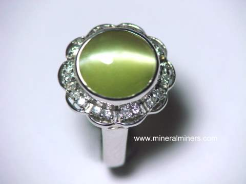Rare Large Fine Quality Chrysoberyl Catseye Ring in Platinum