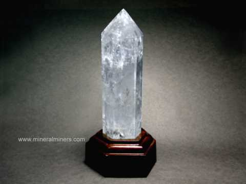 Polished Elestial Quartz Crystals with Wood Base