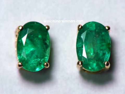 15ddc3ce0 7x5mm Colombian Emerald Earrings in 14k Gold Studs. Item:  emej211a_emerald-earrings