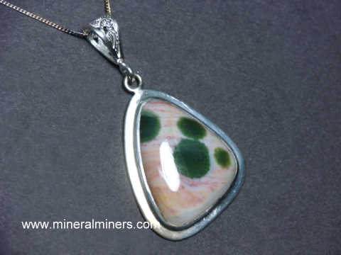 Ocean Jasper Bullet Shape Cold Forged Sterling Silver Pendant