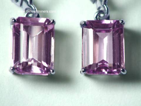 Natural Kunzite 14k White Gold Earrings Item Kunj181
