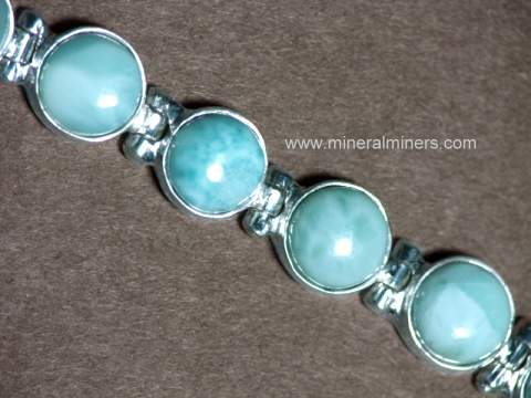 Natural Larimar Bracelet In Sterling Silver