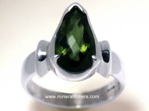 Moldavite Rings: natural moldavite rings