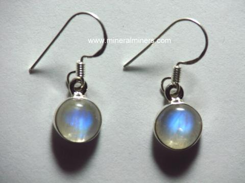 sterling earrings and moonstone moon stone topaz blue silver