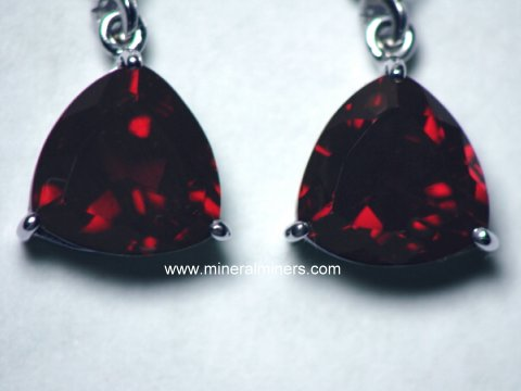 Red Garnet Earrings In 14k White Gold Leverbacks Item