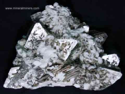 link to page displaying Mineral Specimens of <em>ALL</em> Minerals (image shown is a large decorator mineral specimen of muscovite crystals on albite)