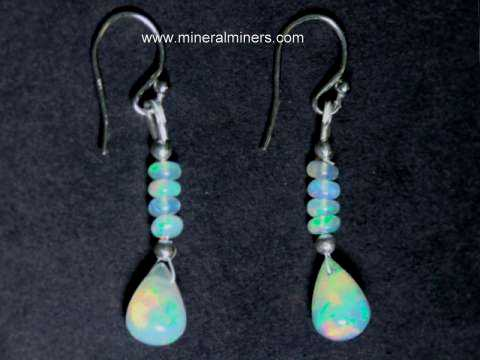 Fine Ethiopian Opal Bead Earrings In Sterling Silver Item
