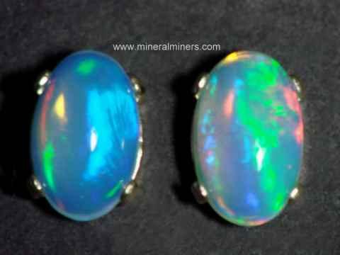 Extra Fine Opal Earrings In 14k Gold Studs Item Opaj443