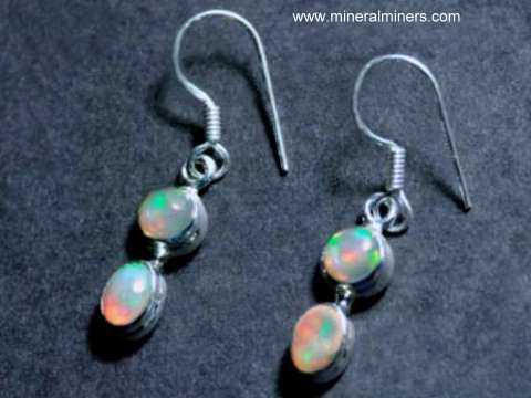 Fine Ethiopian Opal Earrings In Sterling Silver Item