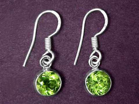 7mm Natural Peridot Earrings In Sterling Silver