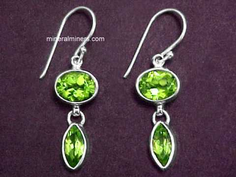 Large Natural Peridot Earrings In Sterling Silver