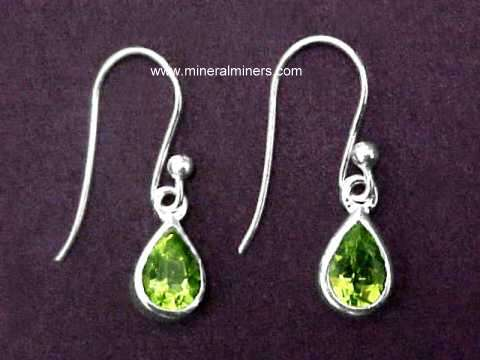 Natural Peridot Earrings In Sterling Silver 1