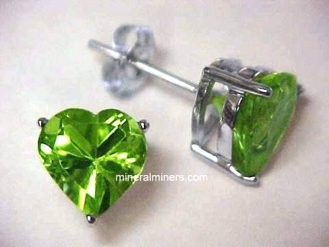 Peridot Earrings In White Gold Item Perj174