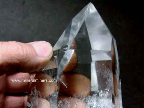 Quartz Crystals: polished crystals of natural rock crystal quartz