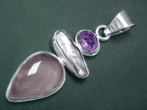 gemstone necklace pendant product set and sterling pink quartz earrings silver stud rose