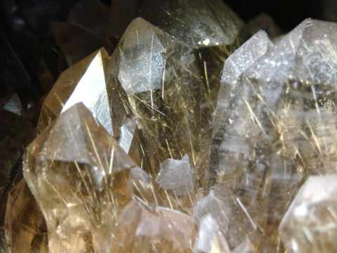 Rutilated Quartz Mineral Specimens: gold rutile in smoky quartz