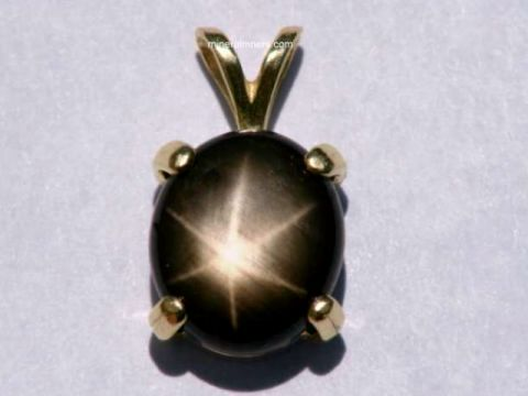 Natural Black Star Sapphire Necklaces-925 Sterling Silver-Oval Black Pendant-Vintage Statement Pendant Women-Bohemian Black Stone Pendant