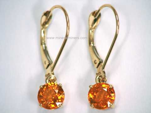 This Genuine Mandarin Garnet Jewelry Design Is Set In Solid 14k Gold Leverback Earrings