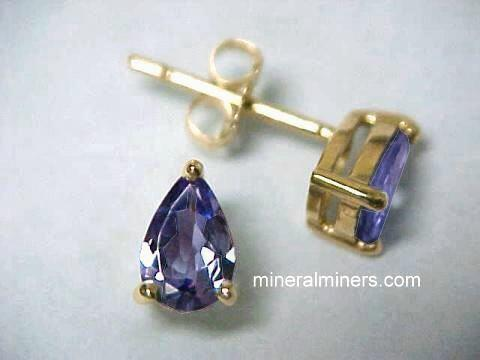 Pear Shape 14k Gold Tanzanite Earrings Item Tanj164a