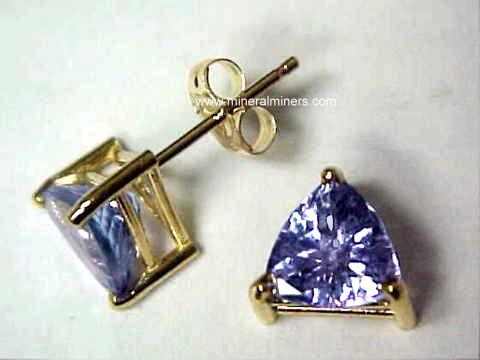Trillion Cut 14k Tanzanite Earrings