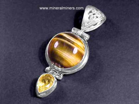 Tigers eye jewelry tigers eye with citrine sterling silver pendant item tigj139a mozeypictures Images