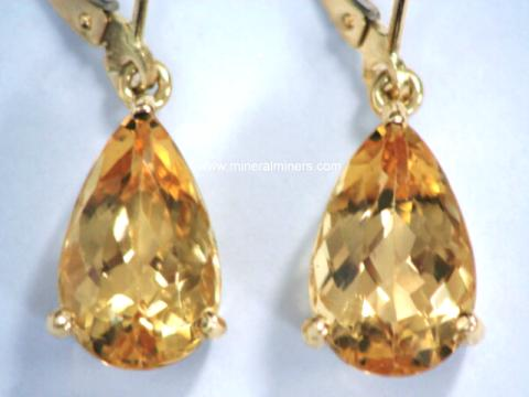 Natural Golden Topaz Lever Back Earrings Item Topj277 Jewelry