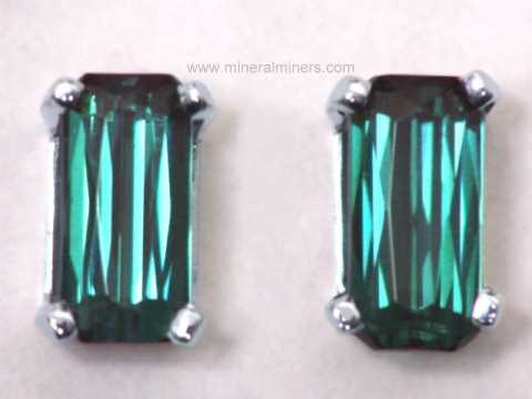 Dark Greenish Blue Tourmaline Back Stud Earrings Item