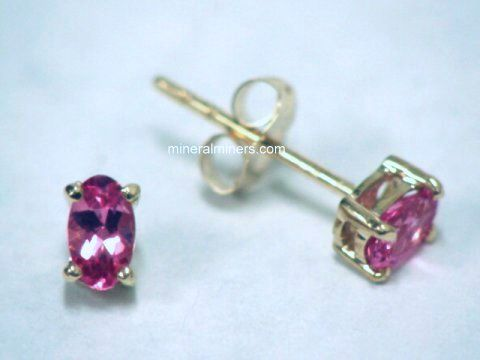 Small Pink Tourmaline Earrings In 14k Yellow Gold Item