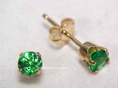 Fine Green Tsavorite 14k Gold Earrings Item Tsvj161
