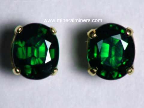 Fine Dark Green Tsavorite Garnet Earrings Item Tsvj190