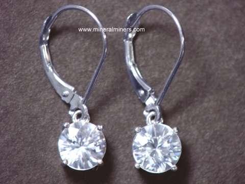 Natural White Zircon Earrings In 14k Gold Lever Backs Zirj147