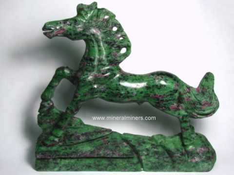 Ruby in Zoisite Animal Carvings: Ruby in Zoisite Chameleon Carvings and Horse Sculptures